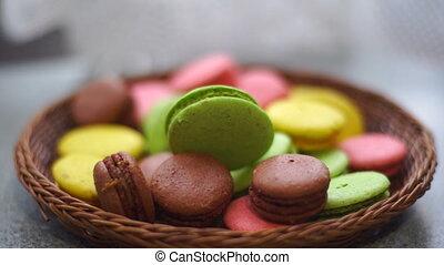 macaroons in wicker basket - Cookies macaroons in wicker...