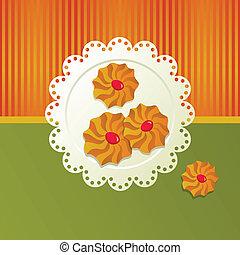 Cookies on a white napkin.