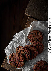 cookies on a wooden table top view handmade healthy food