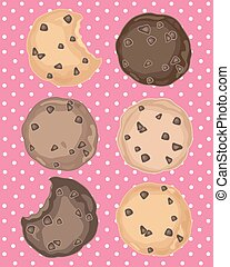 cookies on pink - a vector illustration in eps 8 format of...
