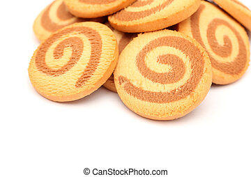Cookies on white background. Close-up.