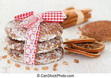 cookies on white wooden background