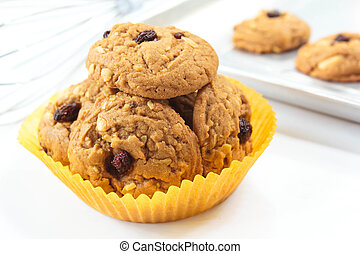 cookies., pasa, harina de avena