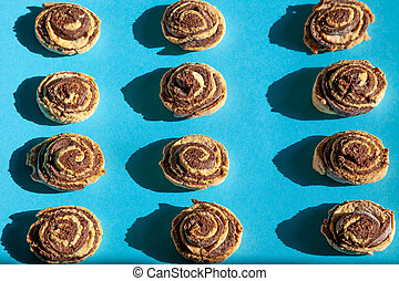 Cookies pattern. Homemade Shortbread Cookies. Chocolate striped bun roll.