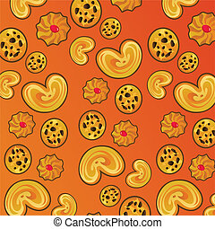 Cookies pattern on orange background