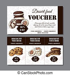 Cookies poster in hand drawn style. Sketch illustration for menu or banner. Vector