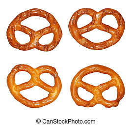 cookies pretzels  isolated on white