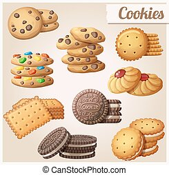 Cookies. Set of cartoon vector icons.