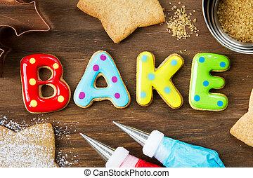 Cookies spellling bake - Cookies forming the word bake