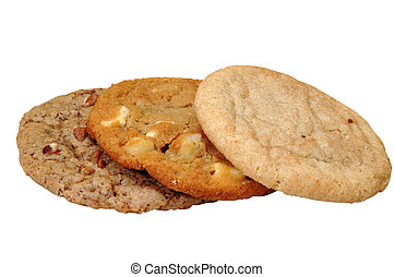 Cookies - Three assorted cookies. Isolated image with ...