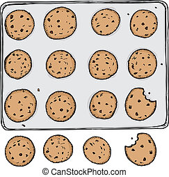Cookies - Tray of 12 chocolate chip cookies on metal tray...