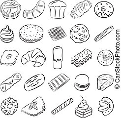 Cookies - vector collection of cookies in line art