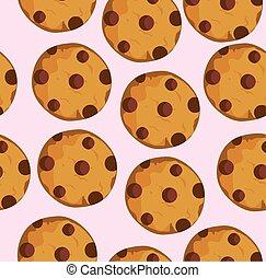 Cookies - vector seamless cookies background