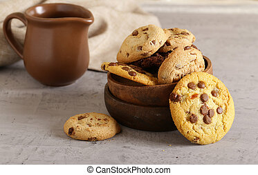 Chocolate Chips Cookies In A Wooden Basket Food