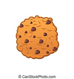Cookies with chocolate Drops. Oatmeal Biscuits on white background. Sweet Cracker isolated