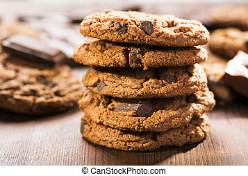 cookies with chocolate on wooden table