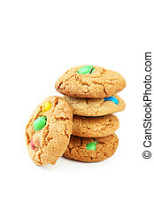 Cookies with colorful candy isolated on white