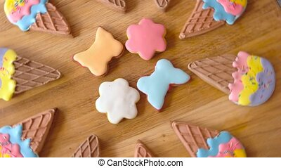 Cookies with colorful icing. Desserts shaped as ice cream....