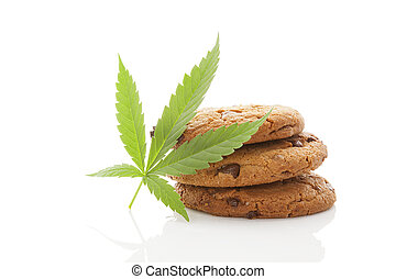 Cookies with hemp leaf isolated. - Chocolate chip cookies...