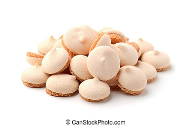 Cookies with meringue isolated on white