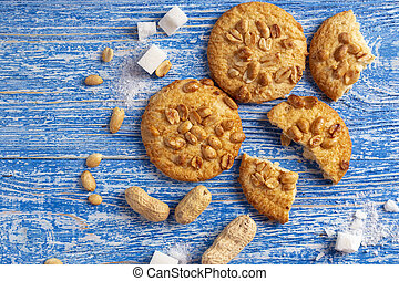 cookies with peanuts on the table