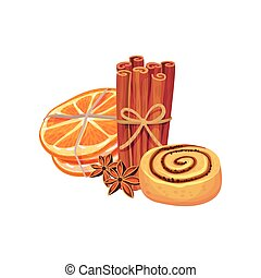 Cinnamon sticks and orange dolca tied with a rope. Near biscuits with poppy seeds. Vector illustration on white background.