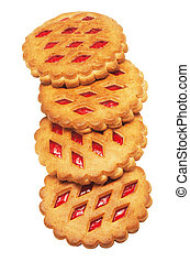 Cookies with red fruit jam on a white background