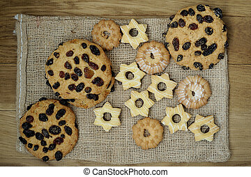 Cookies with wooden background.