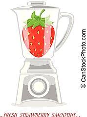 cooking., ジュースをしぼる, ミキサー, フルーツ, strawberry., smoothies, ミキサー