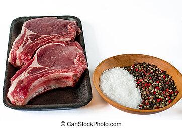cooking., 古い, 肉, 牛肉, コショウ, 木製である, スペース, text., ステーキ, 未加工, 大理石模様にされた, バックグラウンド。, ハーブ, 準備ができた, 目, ステーキ, あばら骨, ニンニク
