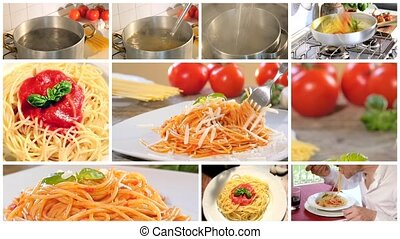 Traditional italian recipe. Eating spaghetti with tomato sauce, parmesan cheese and basil. Collage.