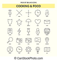 Cooking and Food Line Icon Set - 25 Dashed Outline Style