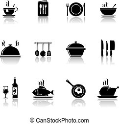 Cooking and kitchen icons with reflection