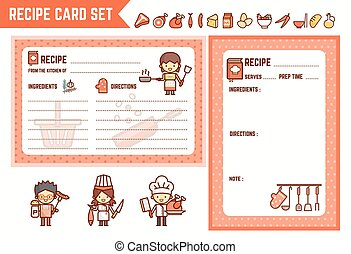 cooking and kitchen recipe card set with characters and ingredient icons