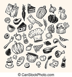 Cooking and kitchen. Hand drawn vector set. Kitchenware, cookware, food, meal, vegetables and fruits.