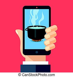 Cooking app, food blog concepts. Hand holding smartphone with hot cooking pot on stove with steam on screen. Mobile phone and boiling water in pan. Modern flat design vector illustration
