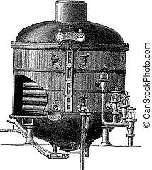 Cooking apparatus in a vacuum, vintage engraving.