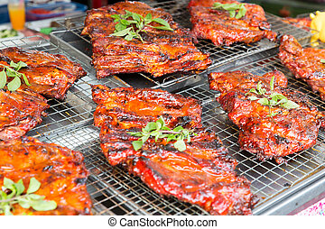 meat grill at street market - cooking, asian kitchen, sale...