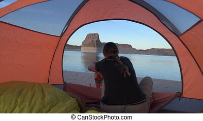 Cooking at Sunset Tent Camping Lone Rock Lake Powell - Tent...
