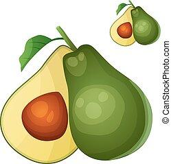 cooking., avocado., cibo, serie, bevanda, isolato, fondo., vettore, ingredienti, bianco, cartone animato, icona