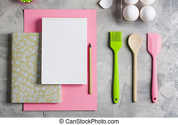 Cooking baking flat lay background with eggs kitchen tools