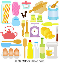 Cooking, Baking Theme - cute Vector Icons : Cooking, Baking...