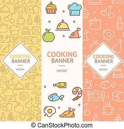 Cooking Banner Flyer Vertical Set. Vector