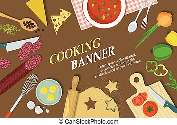 Cooking banner with kitchenware