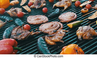 Cooking Barbecue Delicious and Vegetables on the Grill