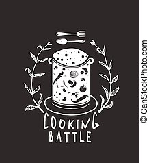 Cooking Battle Sign with Laurel and Label Monochrome Design on Black