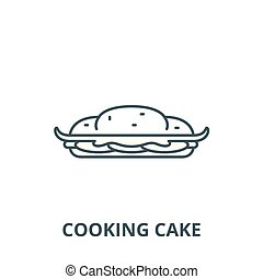 Cooking cake vector line icon, linear concept, outline sign, symbol