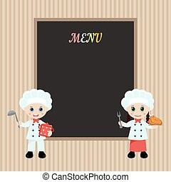 Cooking chefs - Happy cartoon child chefs with menu paper