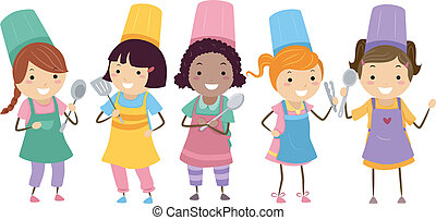 Illustration of Kids Wearing Colorful Toques and Aprons Attending a Cooking Class
