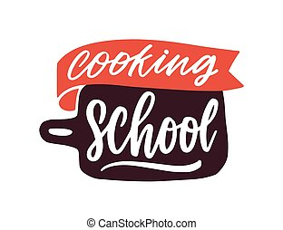 Cooking classes flat vector logotype. Cartoon cutting board with handwritten lettering sticker. Culinary courses logo isolated on white background. Cookery school advertisement label.